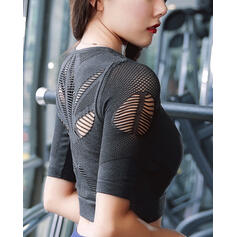 Round Neck 1/2 Sleeves Mesh Sports Tees