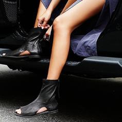 Donna PVC PU Senza tacco Sandalo Ballerine Punta aperta con Cerniera scarpe