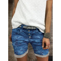 Grote maat Camouflage Casual Wijnoogst Shorts