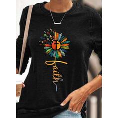 Print Floral Figure Round Neck Long Sleeves Sweatshirt