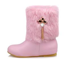 Women's Leatherette Flat Heel Boots With Zipper Tassel Faux-Fur shoes