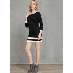 Striped Long Sleeves Shift Above Knee Little Black/Casual Dresses