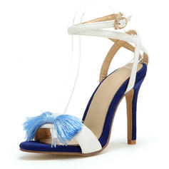 Women's Leatherette Stiletto Heel Sandals Pumps Peep Toe Mary Jane With Bowknot Buckle shoes
