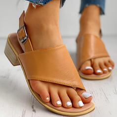 Donna PU Tacco spesso Sandalo Punta aperta con Colore solido scarpe