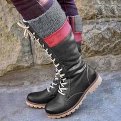 Dla kobiet PU Obcas Slupek Kozaki do polowy lydki Z Sznurowanie obuwie