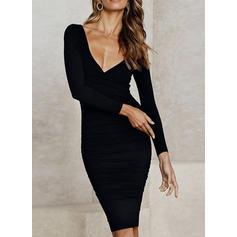 Solid Long Sleeves Bodycon Little Black/Casual/Elegant Midi Dresses