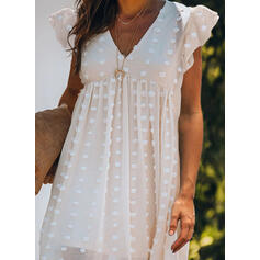 Solid Cap Sleeve Shift Above Knee Casual/Vacation Dresses