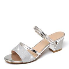 Mulheres Espumante Glitter Salto baixo Peep toe Sandálias Sapatos abertos