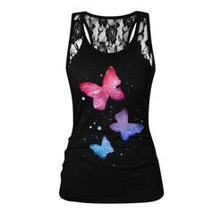 Animal Print Lace U-Neck Sleeveless Tank Tops