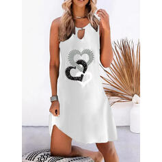 Print/Heart Sleeveless Shift Above Knee Casual Dresses