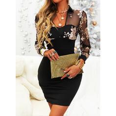 Print/Floral Long Sleeves Bodycon Above Knee Elegant Dresses
