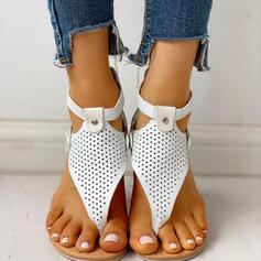 Women's PU Flat Heel Sandals Peep Toe With Buckle Zipper shoes