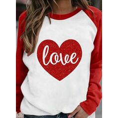 Print Color Block Heart Letter Round Neck Long Sleeves Sweatshirt