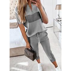 Kostkovaný Neformální Plus velikost handsstring Kalhoty Dvoudílné outfity