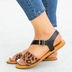 Women's PU Flat Heel Sandals Flats With Buckle Animal Print shoes