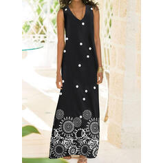 Print Sleeveless Shift Tank Casual/Vacation Maxi Dresses