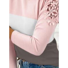 Trozos de color Encaje Cuello Redondo Manga Larga Elegante Blusas