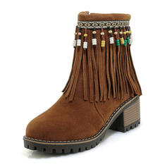 Women's Suede Chunky Heel Boots With Tassel shoes