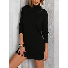 Solid Long Sleeves Bodycon Above Knee Sweater/Casual Dresses