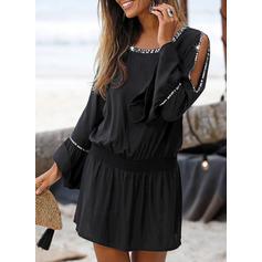 Jednolita Długie rękawy/Odkryte ramię W kształcie litery A Nad kolana Mała czarna/Casual/Wakacyjna Sukienki