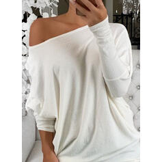 Solid Round Neck Batwing Sleeve Long Sleeves Casual Basic T-shirts