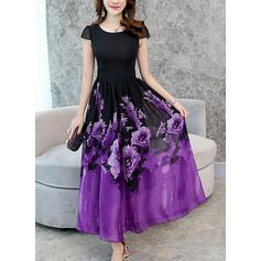 Nadrukowana/Kwiatowy Krótkie rękawy W kształcie litery A Maxi Wintage/Casual/Elegancki Sukienki