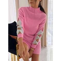 Paillettes stand collare Casual Lungo Abito maglione