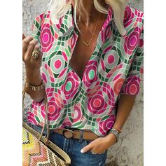 Print Lapel 1/2 Sleeves Casual Shirt Blouses