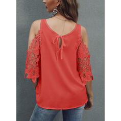 Solid Lace Cold Shoulder 3/4 Sleeves Casual Elegant Blouses