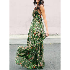 Print/Floral Sleeveless A-line Maxi Casual/Boho/Vacation Dresses