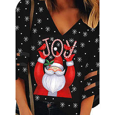 Print V-Neck 3/4 Sleeves Casual Christmas Blouses