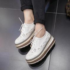 Frauen Microfaser-Leder Keil Absatz Geschlossene Zehe Keile mit Zuschnüren Schuhe