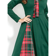 Plaid Long Sleeves A-line Knee Length Casual Dresses