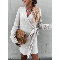 Sólido Cuello en V Casual Vestido de Suéter