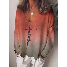 Figur Gradient Print V-hals Lange ærmer T-shirts