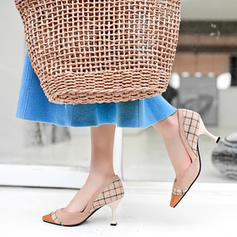 Women's Leatherette Spool Heel Pumps Closed Toe With Split Joint shoes