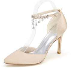 Women's Silk Like Satin Stiletto Heel Sandals Pumps Closed Toe With Rhinestone Chain shoes