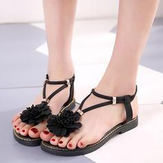 Women's Leatherette Flat Heel Sandals Flats Flip-Flops With Flower shoes