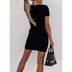 Print/Letter Short Sleeves Bodycon Above Knee Casual Sweatshirt Dresses