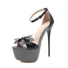 Women's PU Stiletto Heel Sandals Pumps Peep Toe With Bowknot Buckle shoes