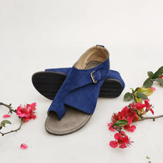 Women's Suede Flat Heel Sandals Flats With Split Joint shoes