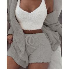 Hooded Long Sleeves Solid Color Sexy Top & Short Sets