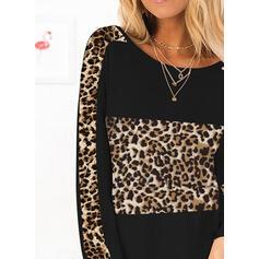 Leopard Kulatý Výstřih Dlouhé rukávy Trička