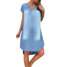 Solid Short Sleeves Shift Above Knee Casual/Denim Dresses