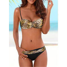 Splice color Push Up Strap Sexy Bikinis Swimsuits