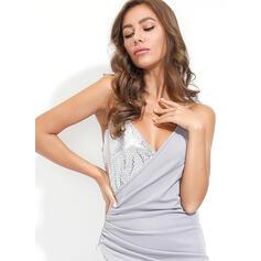 Cekiny Bez rękawów Bodycon Nad kolana Przyjęcie Sukienki