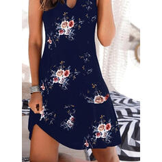 Print/Floral Sleeveless Sheath Above Knee Casual/Vacation Tank Dresses