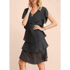 Einfarbig Kurze Ärmel Shift Knielang Freizeit/Elegant Kleider