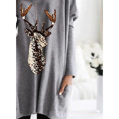 Print Sequins V-neck Long Sleeves Casual Christmas Knit T-shirts