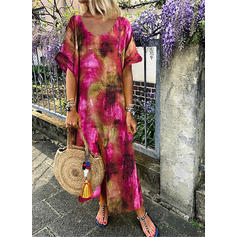 Print 1/2 Sleeves Shift Maxi Casual Dresses
